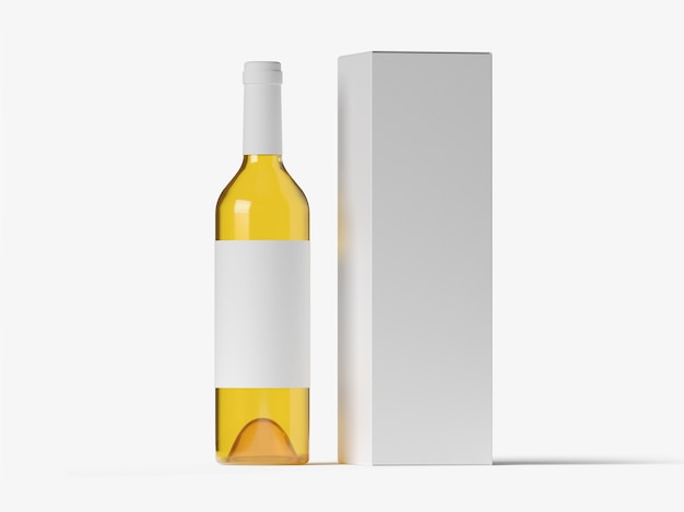 Witte wijnfles mockup met doosverpakking 3d illustratie