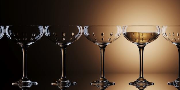 Witte wijnglazen op gouden achtergrond. 3d rendering illustratie.