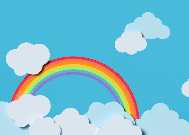 Witte wolken en regenboog