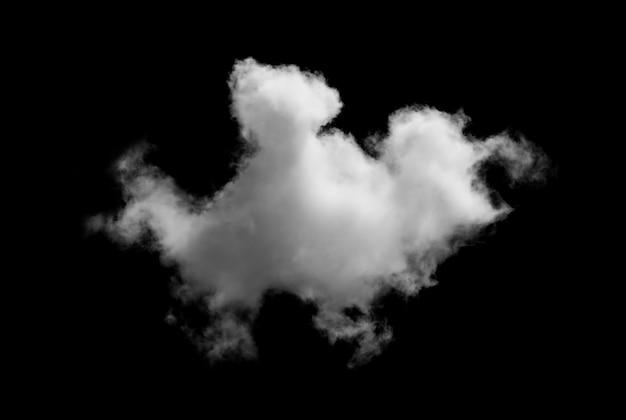 Witte wolken geïsoleerd op zwart.