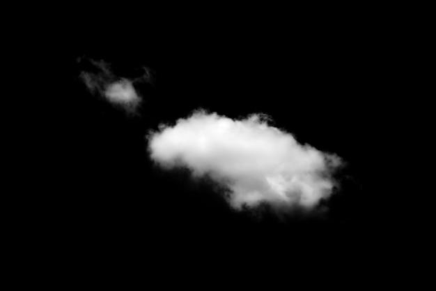 Witte wolken geïsoleerd op zwart