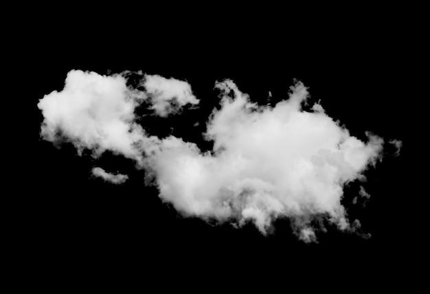 Witte wolken geïsoleerd op zwarte achtergrond