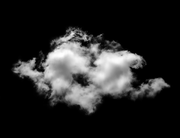 Witte wolken op zwarte achtergrond