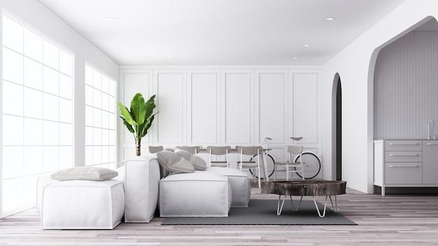 Witte woon- en eetkamer in scandinavische stijl met houten meubilair en vloer 3d-rendering