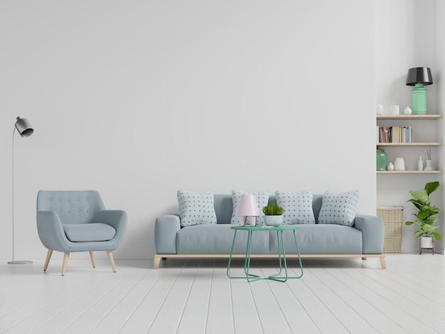 Witte woonkamer met fauteuil en bank. scandinavisch interieur.