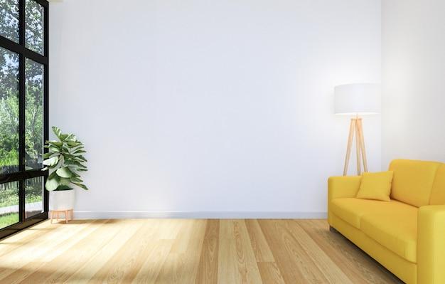 Witte woonkamer met groot raam en gele bank