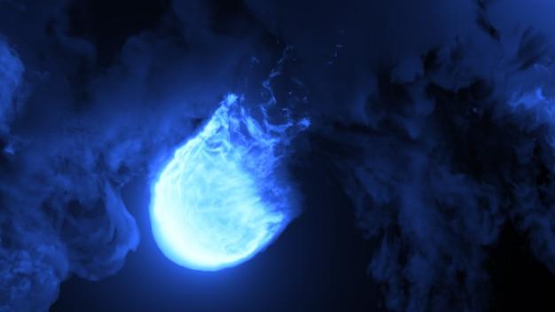 Woedende vuurbal van magische blauwe kleur in een besloten ruimte met dikke rookwolken en heldere vlammen.