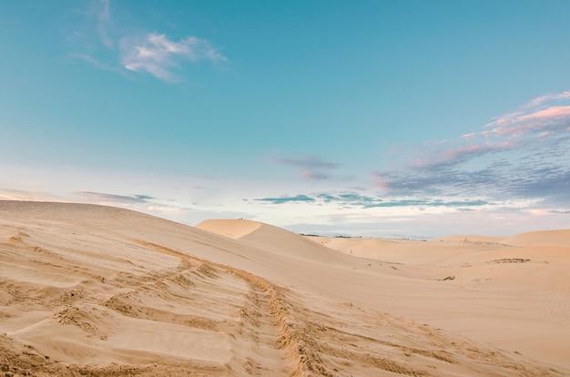 Woestijn met blauwe hemel.