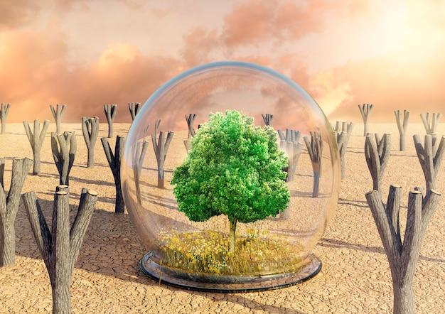 Woestijnoase met groene boom, gras en bloemen beschermd door een glazen koepel. concept van ontbossing en vernietiging van het milieu. 3d-rendering