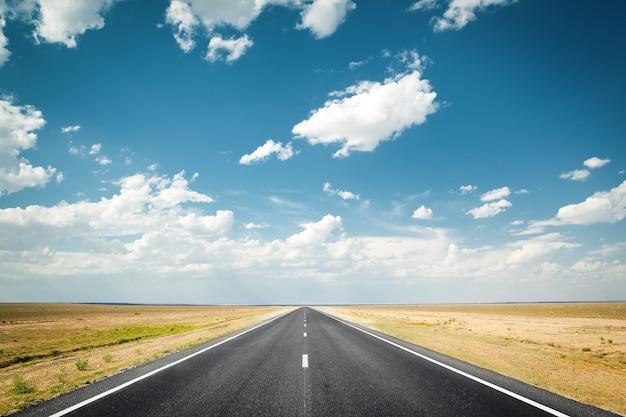 Woestijnsnelweg weg naar de horizon