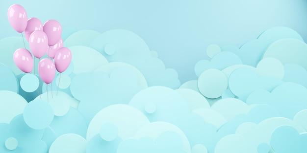Wolk lucht en ballonnen zwevend in de lucht papier gesneden stijl 3d illustratie