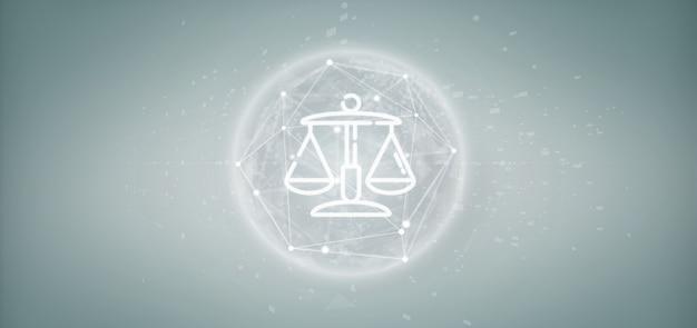 Wolk ofjustice en wetspictogrambel met gegevens het 3d teruggeven