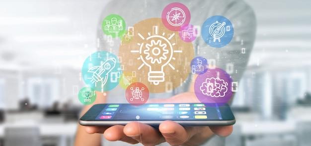 Wolk van kleurrijke start-up pictogram zeepbel met gegevens zakenman die een binair getal