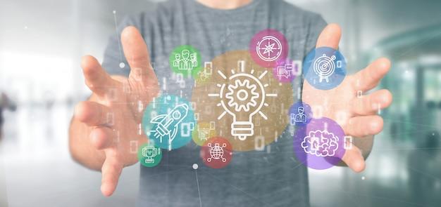 Wolk van kleurrijke start-up pictogram zeepbel met gegevens zakenman die een binaire 3d-weergave