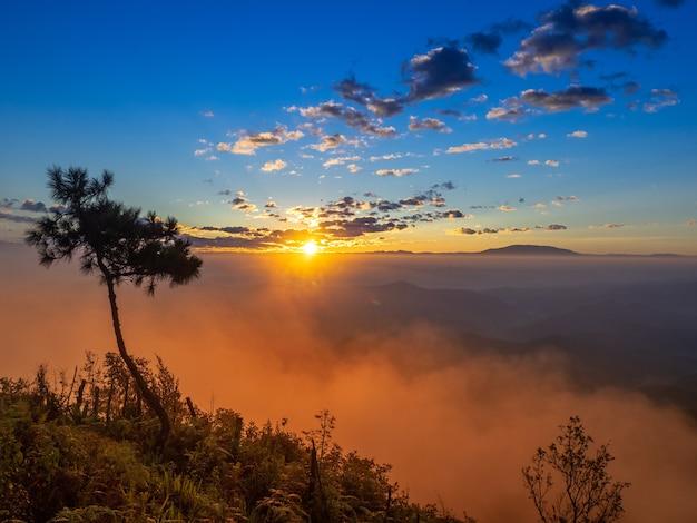 Wolken en hemelachtergrond. zonlichtgloed van zon bij zonsopgang of zonsondergangtijd met silhouet van berg