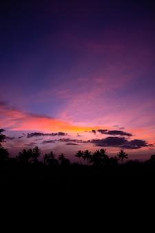 Wolken en lucht zijn 's ochtends prachtig gekleurd