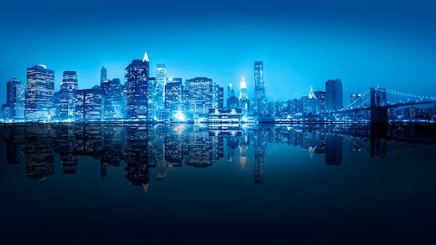 Wolkenkrabber van de stad new york bij nacht