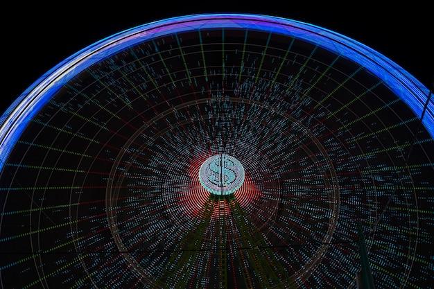 Wonder wiel beweging blauwe lichten met gloeilamp