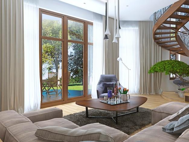 Wonen in een moderne stijl met een houten wenteltrap naar het tweede niveau