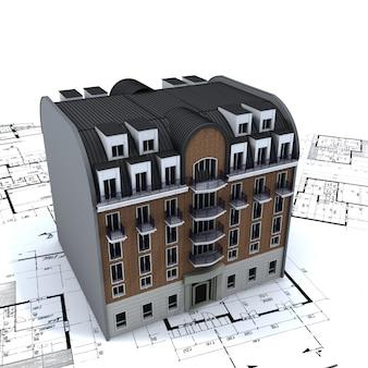Woningbouw bovenop architectenblauwdrukken