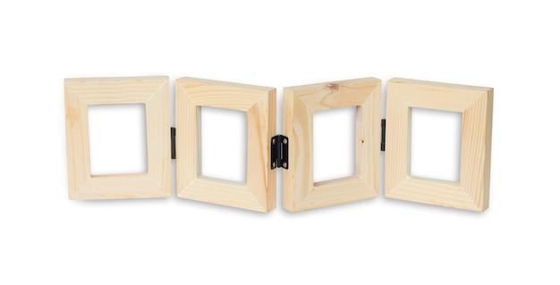 Woodensomlijstingen op witte b worden geïsoleerd die