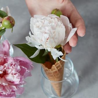 Woomans hand met een mooie verse bloempion in een wafelhoorn bij de glazen vaas op een grijze stenen achtergrond. zomer concept