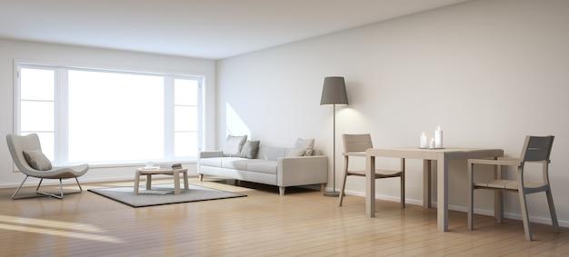 Woon- en eetkamer in modern huis - 3d-rendering