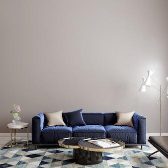 Woonbinnenland met blauwe bank en tapijt voor de lege muur