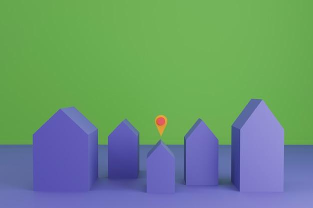 Wooncomplex 3d render met verschillende kleine huizen