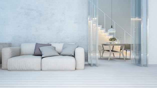 Woongedeelte en eethoek in appartement of thuis - 3d-rendering