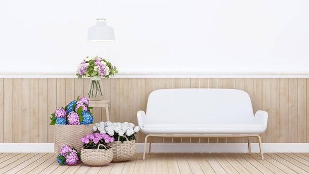 Woongedeelte en kleurrijke bloemen in appartement - binnenhuisarchitectuur voor een eethoek