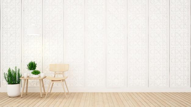 Woongedeelte en wanddecoratie in coffeeshop