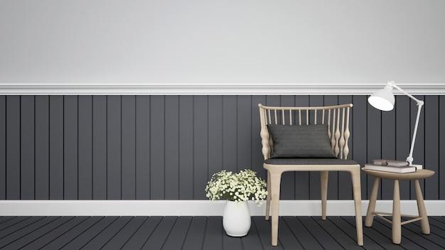 Woongedeelte in coffeeshop of appartement - 3d-rendering