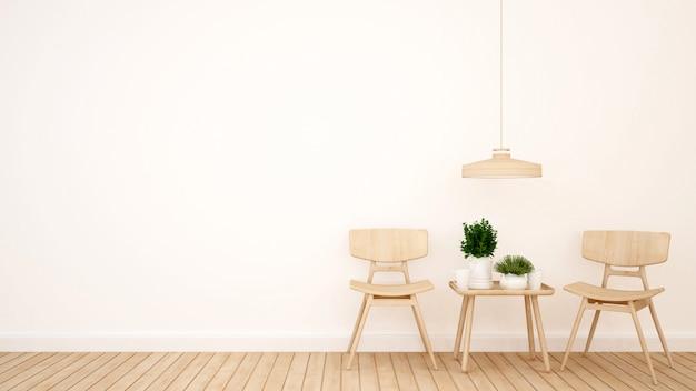 Woongedeelte in coffeeshop of restaurant - 3d-rendering
