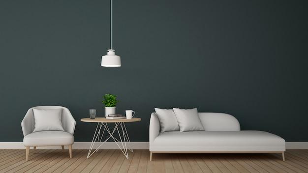 Woongedeelte in lounge of koffiewinkel - 3d-rendering