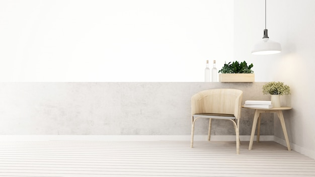 Woongedeelte op balkon in huis of appartement - 3d-rendering