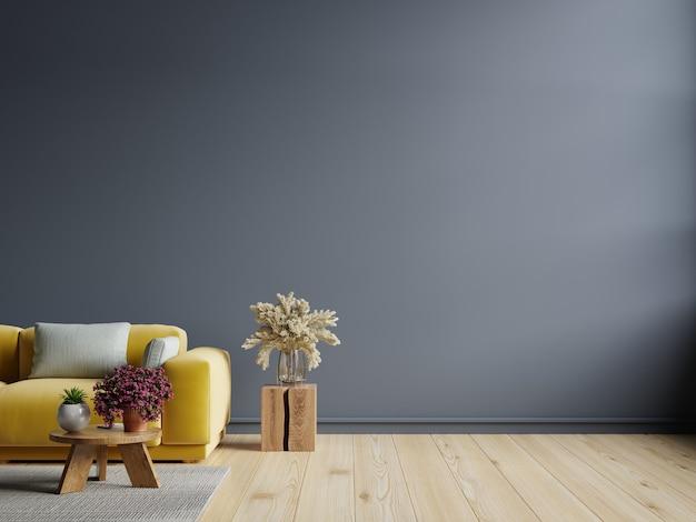Woonkamer binnenmuur in donkere tinten met gele bank op donkerblauwe muur. 3d-rendering