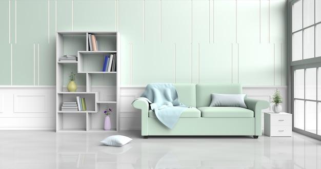 Woonkamer decor groene bank, bloem, kussens, boekenkast, deken, raam, groen-witte muur. 3d