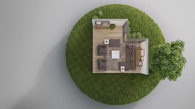 Woonkamer dichtbij grote boom op uiterst klein aardeland met groen gras in onroerende goederenverkoop of het concept van de bezitsinvestering.