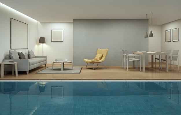 Woonkamer, eetkamer en zwembad in modern huis.