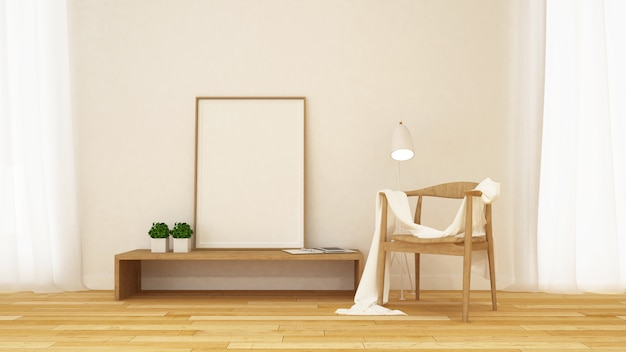 Woonkamer en bibliotheek en frame voor kunstwerken - 3d-rendering