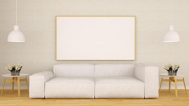 Woonkamer en kader voor kunstwerk schoon ontwerp-3d-weergave