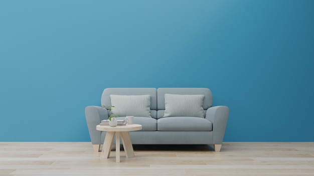 Woonkamer en luxe binnenmuur voor klassieke blauwe kleurentrend 2020.