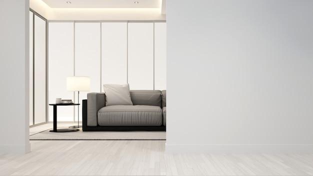 Woonkamer in appartement of hotel - binnenhuisarchitectuur - 3d renderi