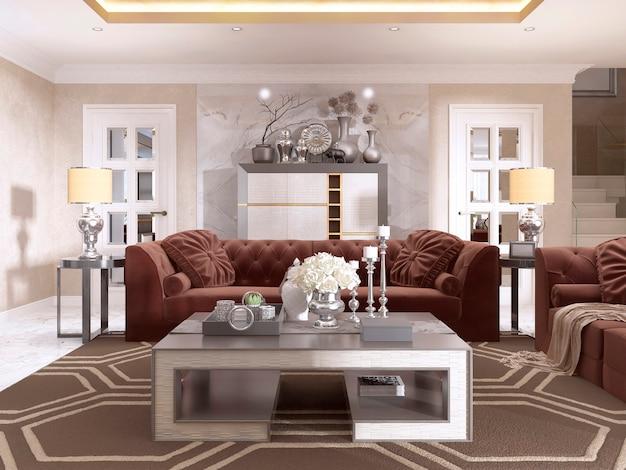 Woonkamer in art deco stijl met gestoffeerde designmeubels. met een gouden plafond en muren in venetiaans pleisterwerk. 3d render.