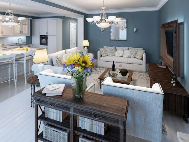 Woonkamer in mediterrane stijl met blauwe muren en witte parketvloer en elegant wit meubilair.