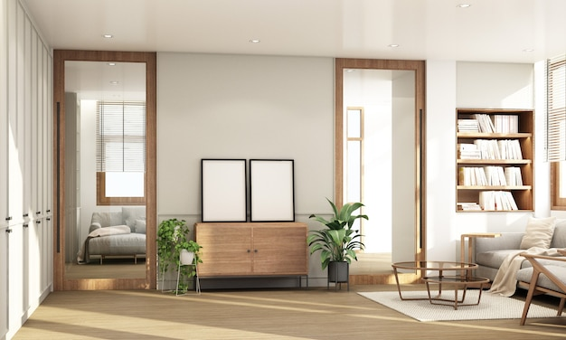 Woonkamer in modern eigentijds interieur met houten raamkozijn en transparant met grijze meubeltoon 3d-weergave