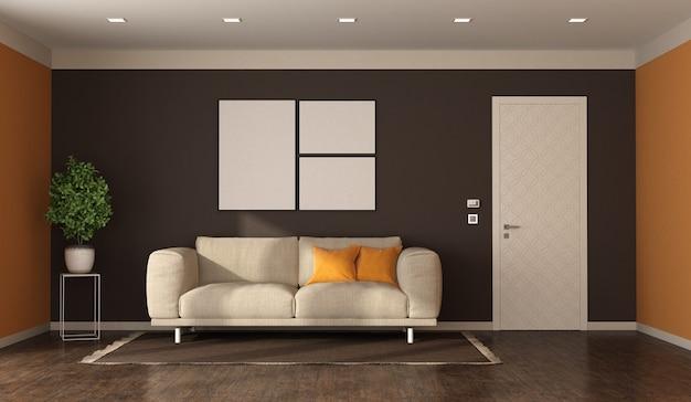 Woonkamer in moderne stijl, stoffen bank en gesloten deur met versierd paneel - 3d-rendering