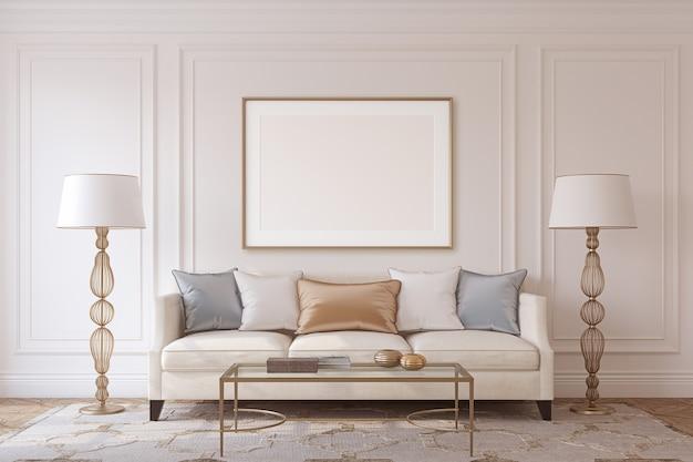 Woonkamer in neoklassieke stijl. frame mockup. 3d render.