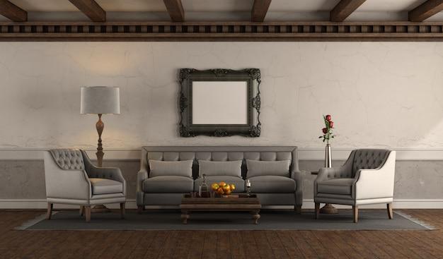 Woonkamer in retro stijl met grijze bank en fauteuil
